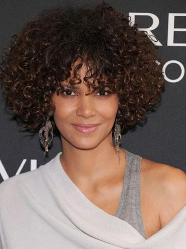 Halle Berry Elegant Short Voluminous Spiral Curls Glueless Lace Human Hair wig