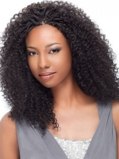 Fresh and Delicate Mid-length Kinky Curly Lace Front Human Hair Wig