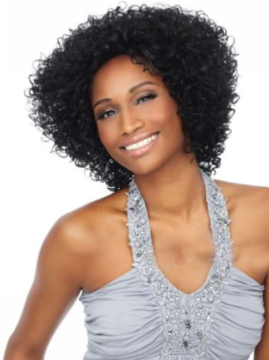 Delightful and Vigorous Short Style Shag with Full Tight Curls Mono Top Human Hair Wig