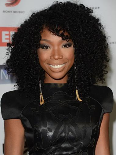 Brandy Norwood Human Hair Full Lace Wig Kinky Curly Wigs