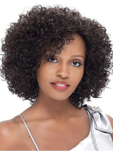 New Impressive Short Kinky Brown Side Bang African American Lace Wigs for Women 12 Inch