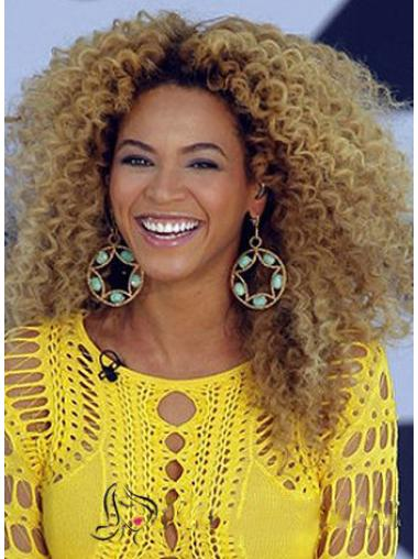 Chic Beyonce Knowles' Wig Full Lace Medium Curly Blonde Human Hair