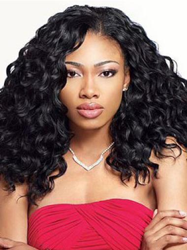 Grand Medium Kinky Black No Bang African American Lace Wigs for Women 18 Inch