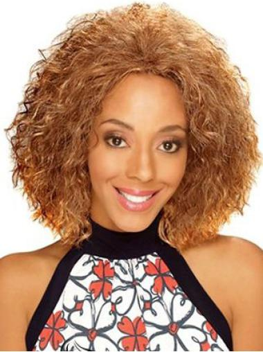 Grand Short Kinky Blonde No Bang African American Lace Wigs for Women 12 Inch