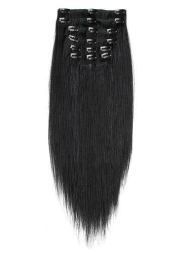 Remy Human Hair Straight Black Tempting Clip in Hair Extensions