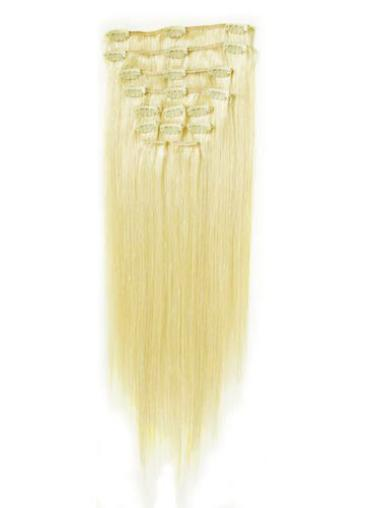 Remy Human Hair Straight Blonde Popular Clip in Hair Extensions