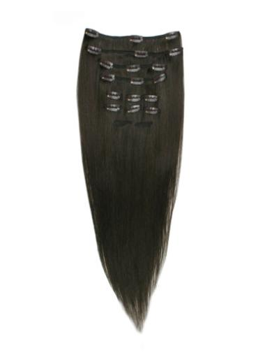 Remy Human Hair Straight Black Traditiona Clip in Hair Extensions
