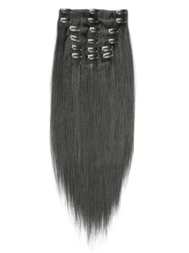 Remy Human Hair Straight Black Radiant Clip in Hair Extensions