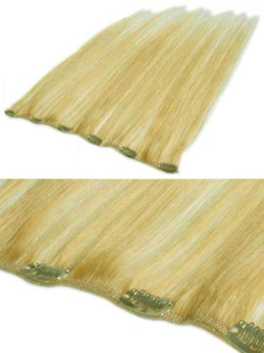 Remy Human Hair Straight Blonde Good Clip in Hair Extensions