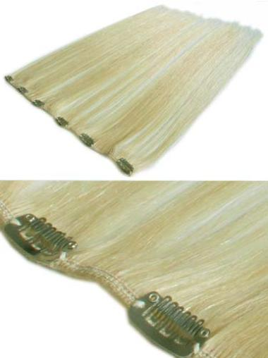 Remy Human Hair Straight Blonde Nice Clip in Hair Extensions