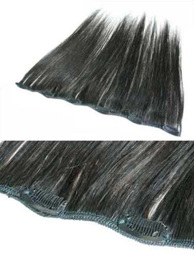 Remy Human Hair Straight Black Ideal Clip in Hair Extensions