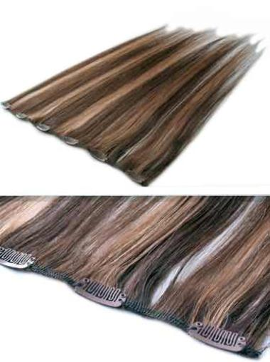 Remy Human Hair Straight Brown Suitable Clip in Hair Extensions