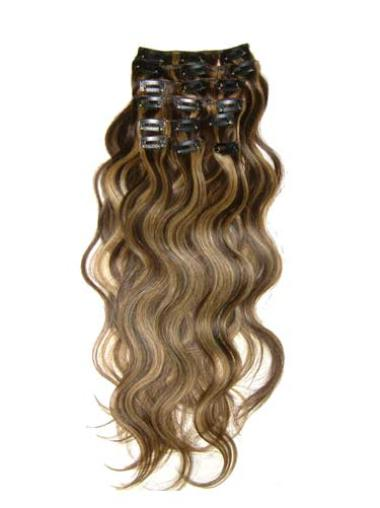 Remy Human Hair Wavy Brown Discount Clip in Hair Extensions