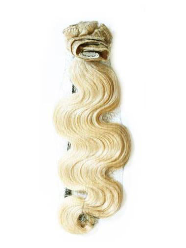 Remy Human Hair Wavy Blonde Gorgeous Clip in Hair Extensions