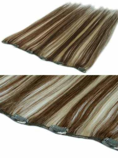 Remy Human Hair Straight Brown Style Clip in Hair Extensions