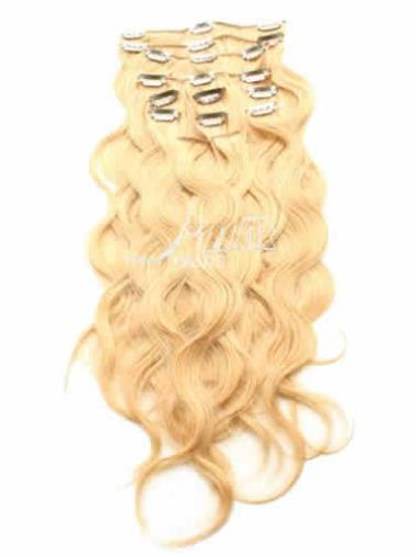 Remy Human Hair Curly Blonde Durable Clip in Hair Extensions