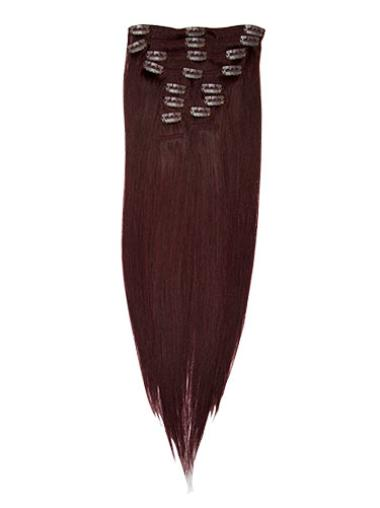 Remy Human Hair Straight Red New Clip in Hair Extensions