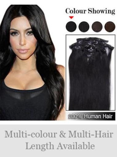 Remy Human Hair Straight Black Amazing Clip in Hair Extensions