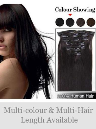 Remy Human Hair Straight Brown Graceful Clip in Hair Extensions