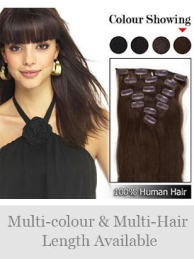 Remy Human Hair Straight Radiant Clip in Hair Extensions