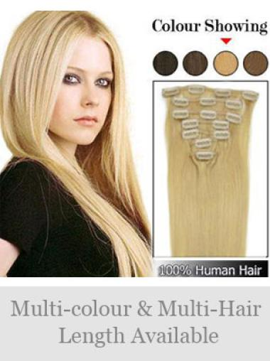 Remy Human Hair Straight Blonde Ideal Clip in Hair Extensions