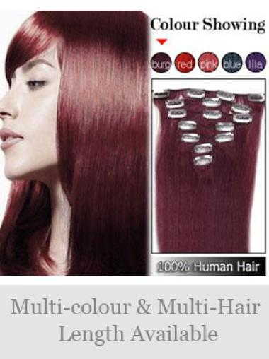 Remy Human Hair Straight Red Fashionable Clip in Hair Extensions