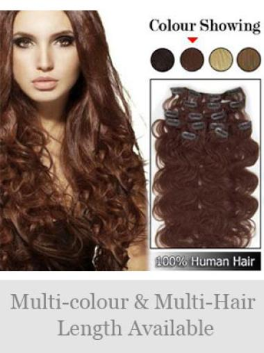 Remy Human Hair Wavy Auburn Pleasing Clip in Hair Extensions