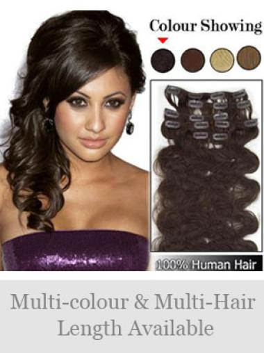 Remy Human Hair Wavy Brown Comfortable Clip in Hair Extensions