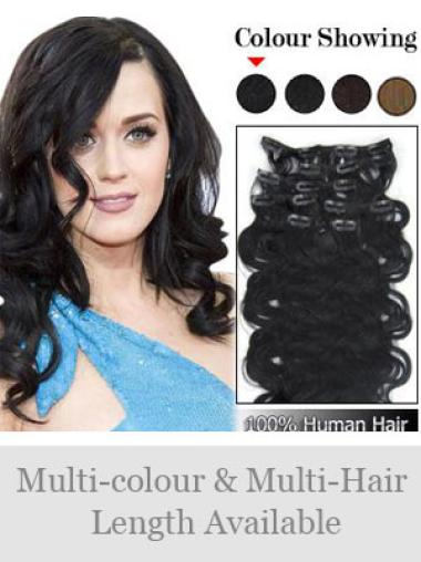Remy Human Hair Wavy Black Comfortable Clip in Hair Extensions