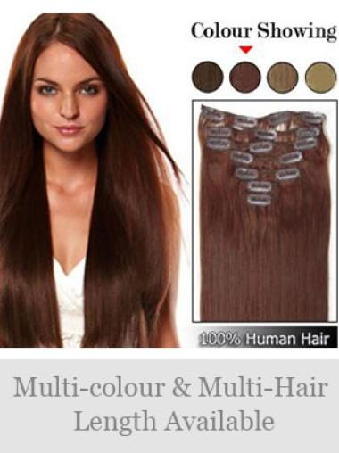 Remy Human Hair Straight Auburn Sassy Clip in Hair Extensions