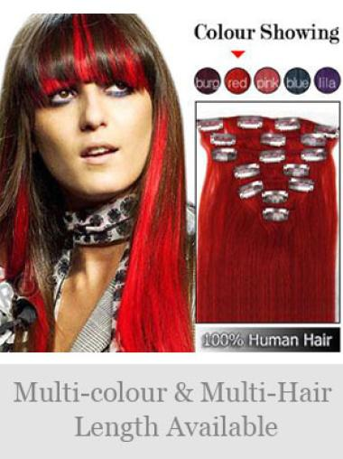Remy Human Hair Straight Red Online Clip in Hair Extensions