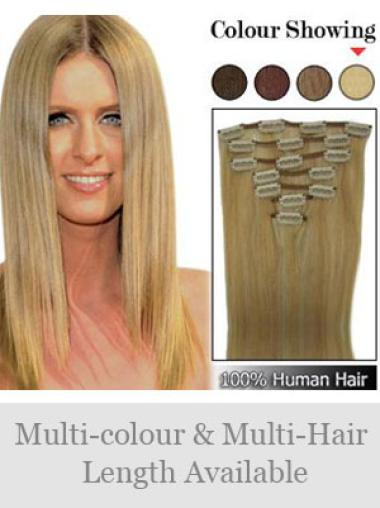 Remy Human Hair Straight Blonde Soft Clip in Hair Extensions