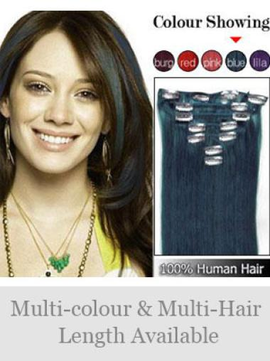 Remy Human Hair Straight Black Easy Clip in Hair Extensions