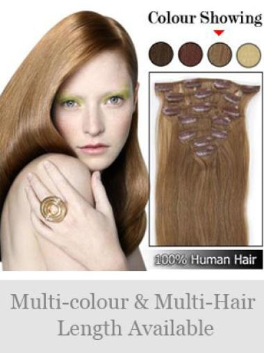 Remy Human Hair Straight Braw Clip in Hair Extensions