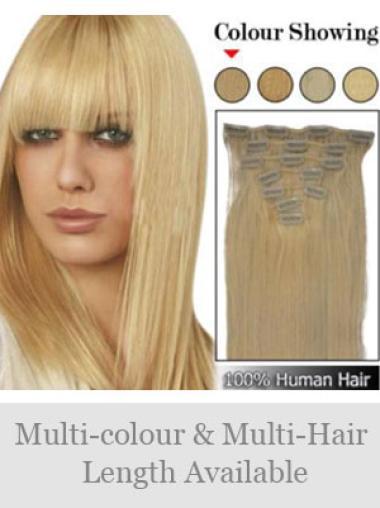 Blonde Straight Sleek Clip in Hair Extensions