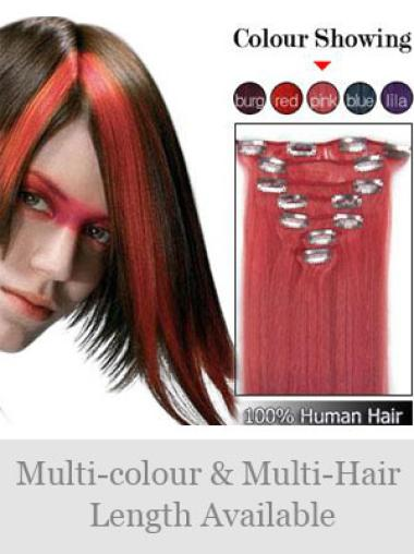 Remy Human Hair Straight Red No-fuss Clip in Hair Extensions