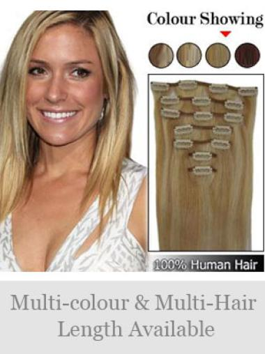 Remy Human Hair Straight Blonde Top Clip in Hair Extensions