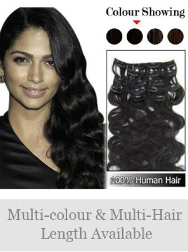 Remy Human Hair Wavy Black Best Clip in Hair Extensions