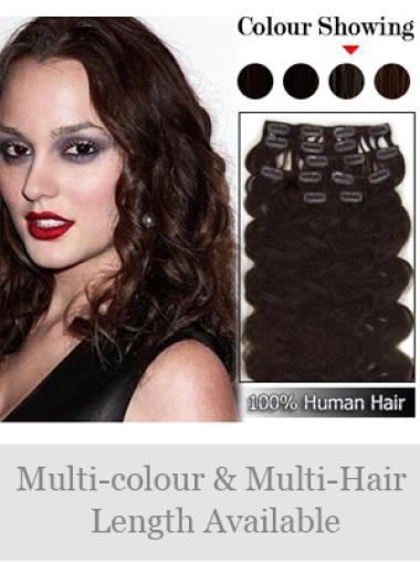 Remy Human Hair Wavy Auburn Easeful Clip in Hair Extensions