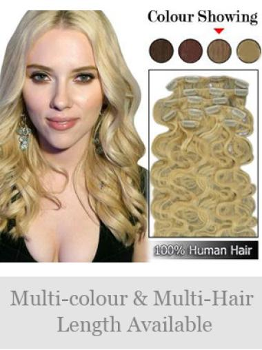 Remy Human Hair Wavy Blonde Gentle Clip in Hair Extensions