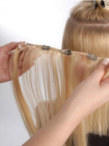Blonde Straight Trendy Clip in Hair Extensions