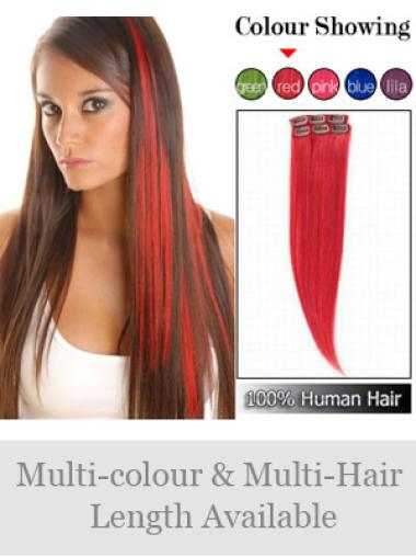 Remy Human Hair Straight Red Natural Clip in Hair Extensions