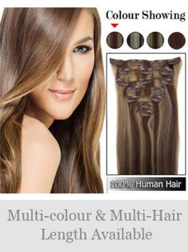 Remy Human Hair Straight Brown Fashionable Clip in Hair Extensions