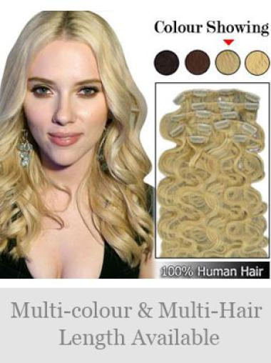 Remy Human Hair Wavy Blonde Graceful Clip in Hair Extensions
