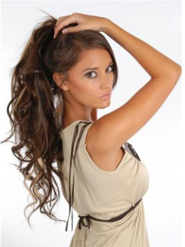 Remy Human Hair Curly Brown Polite Clip in Hair Extensions