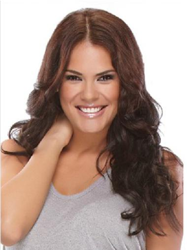 Synthetic Wavy Brown Durable Clip in Hair Extensions