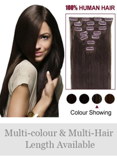 Remy Human Hair Straight Brown Stylish Clip in Hair Extensions
