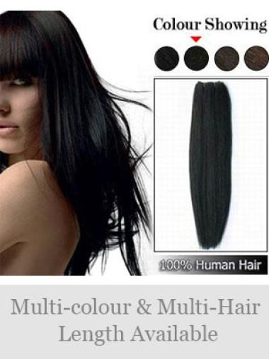 Remy Human Hair Black Weft Extensions