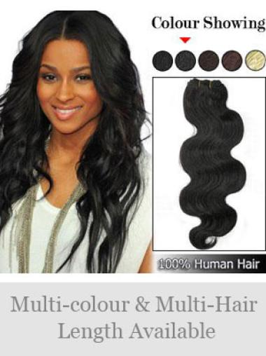 Remy Human Hair Black Comfortable Weft Extensions