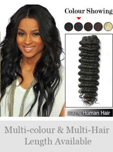 Remy Human Hair Black Designed Weft Extensions